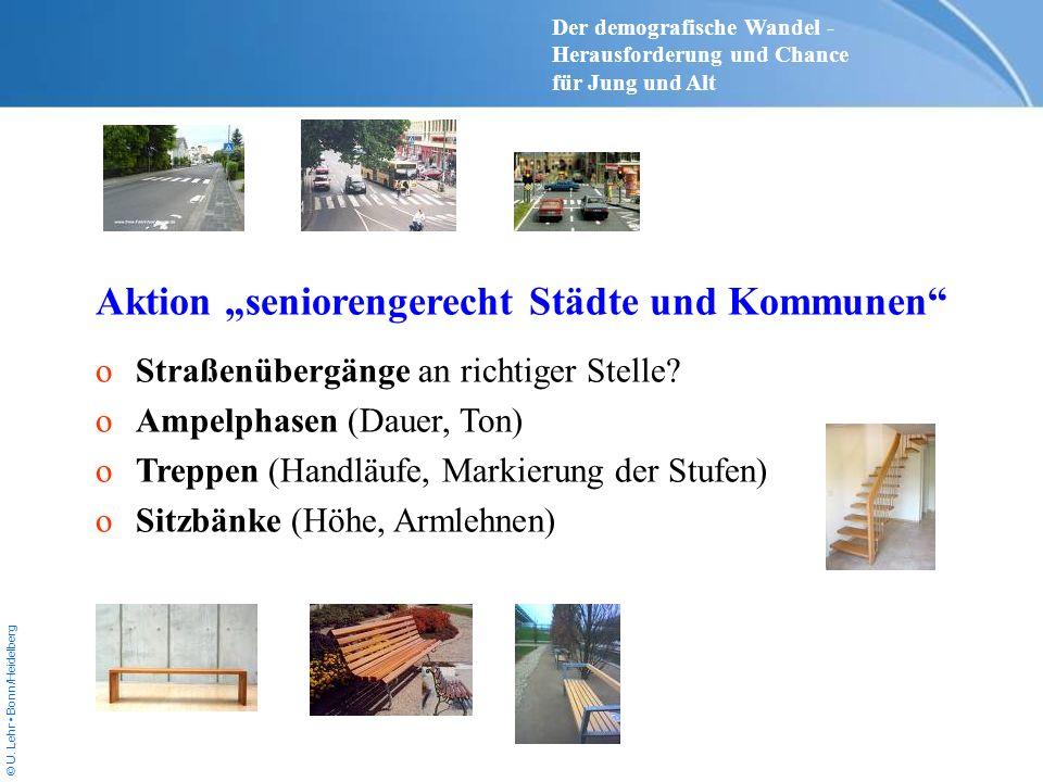 © U. Lehr Bonn/Heidelberg Aktion seniorengerecht Städte und Kommunen oStraßenübergänge an richtiger Stelle? oAmpelphasen (Dauer, Ton) oTreppen (Handlä