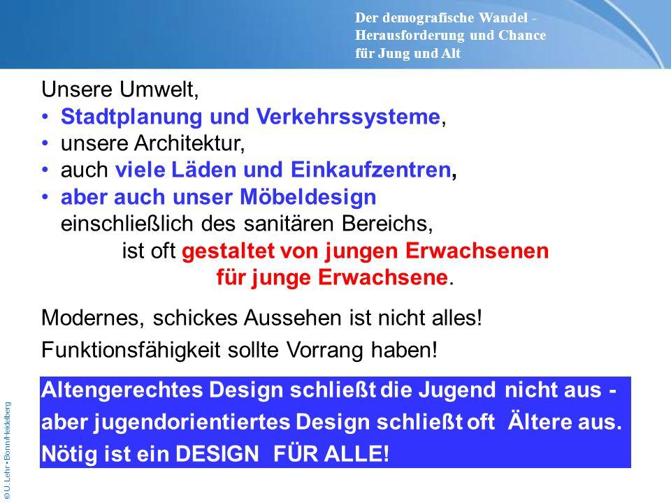 © U. Lehr Bonn/Heidelberg Unsere Umwelt, Stadtplanung und Verkehrssysteme, unsere Architektur, auch viele Läden und Einkaufzentren, aber auch unser Mö