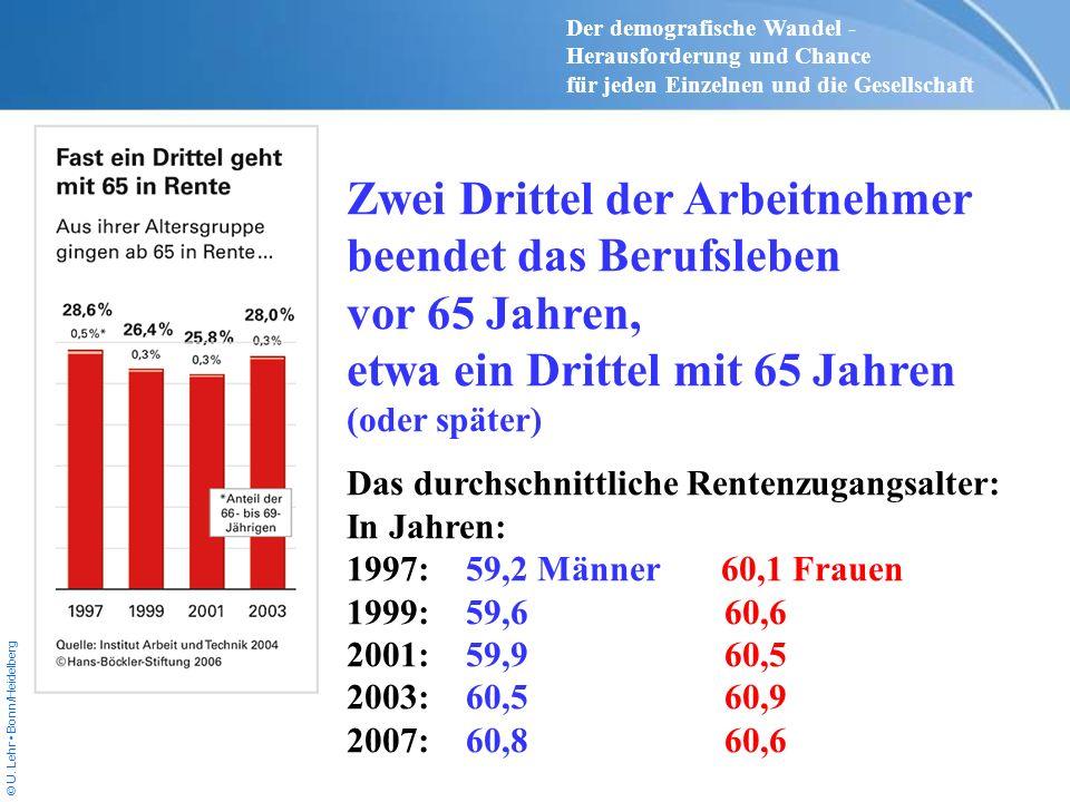 © U. Lehr Bonn/Heidelberg Zwei Drittel der Arbeitnehmer beendet das Berufsleben vor 65 Jahren, etwa ein Drittel mit 65 Jahren (oder später) Das durchs