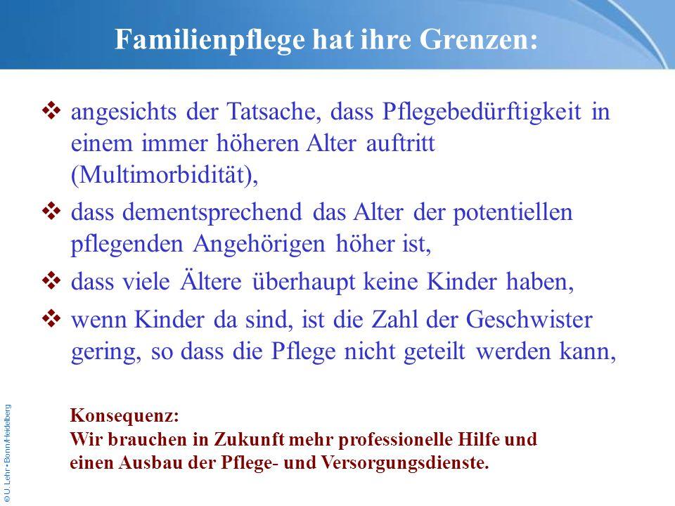 © U. Lehr Bonn/Heidelberg Familienpflege hat ihre Grenzen: angesichts der Tatsache, dass Pflegebedürftigkeit in einem immer höheren Alter auftritt (Mu
