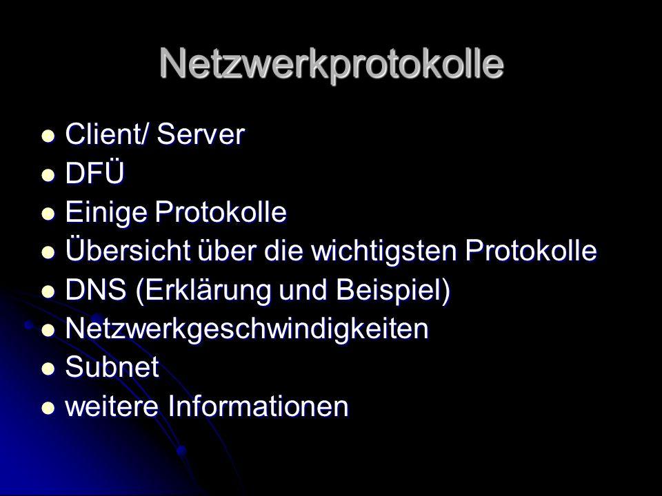 Client Arbeitsplatzrechner der in einem Netzwerk an einen Server angeschlossen ist Arbeitsplatzrechner der in einem Netzwerk an einen Server angeschlossen ist Ein Client fordert Daten an und empfängt diese vom Server Ein Client fordert Daten an und empfängt diese vom Server Client (eng.) = Auftraggeber, Kunde Client (eng.) = Auftraggeber, Kunde ClientServer -----------------------------> <----------------------------- Datenanforderung