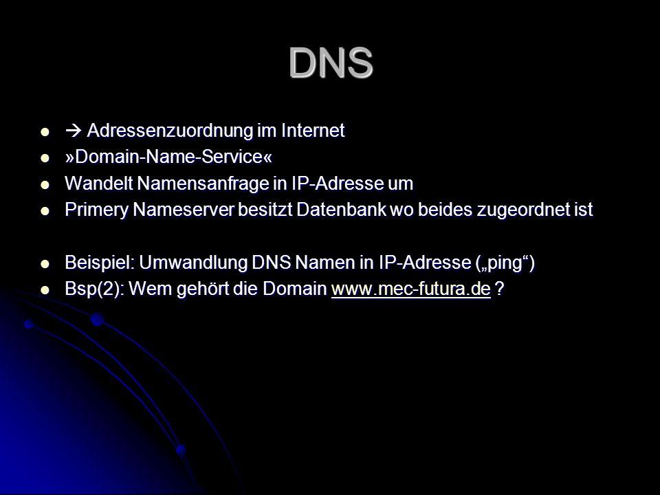 DNS Adressenzuordnung im Internet Adressenzuordnung im Internet »Domain-Name-Service« »Domain-Name-Service« Wandelt Namensanfrage in IP-Adresse um Wan