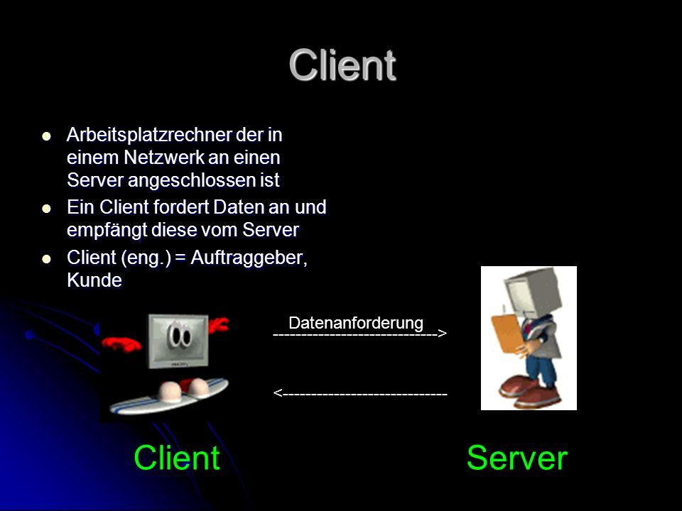 Server Computer enthält Daten, auf die andere Computer zugreifen können Computer enthält Daten, auf die andere Computer zugreifen können Server von servieren Server von servieren Auch oft als Host bezeichnet Auch oft als Host bezeichnet Host (eng.) = Gastwirt, Gastgeber Host (eng.) = Gastwirt, Gastgeber ClientServer -----------------------------> <----------------------------- Datenanforderung Sendet Daten