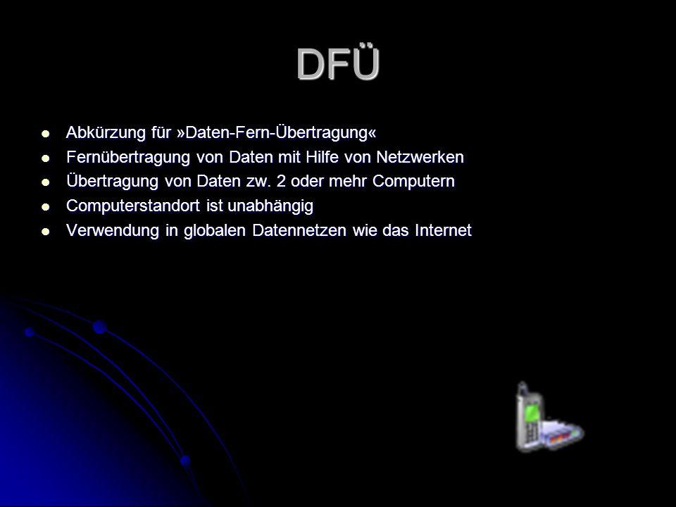 DFÜ Abkürzung für »Daten-Fern-Übertragung« Abkürzung für »Daten-Fern-Übertragung« Fernübertragung von Daten mit Hilfe von Netzwerken Fernübertragung v