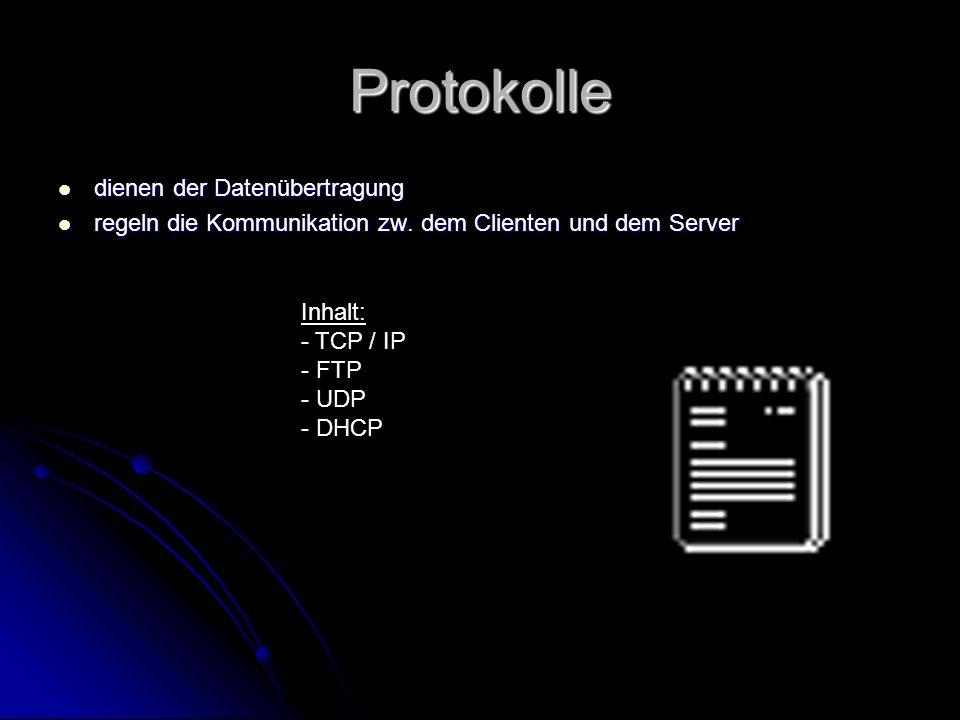 TCP/IP TCP TCP Standartübertragungsprotokoll im Inter- und Ethernet Standartübertragungsprotokoll im Inter- und Ethernet »Transfer Control Protocol« (Übertragungskontroll-Protokoll) »Transfer Control Protocol« (Übertragungskontroll-Protokoll) IP IP Internet-Protokoll zusammen mit TCP das Standartprotokoll im Netz Internet-Protokoll zusammen mit TCP das Standartprotokoll im Netz Jedes Paket zur Zieladresse (IP-Nummer) Jedes Paket zur Zieladresse (IP-Nummer)
