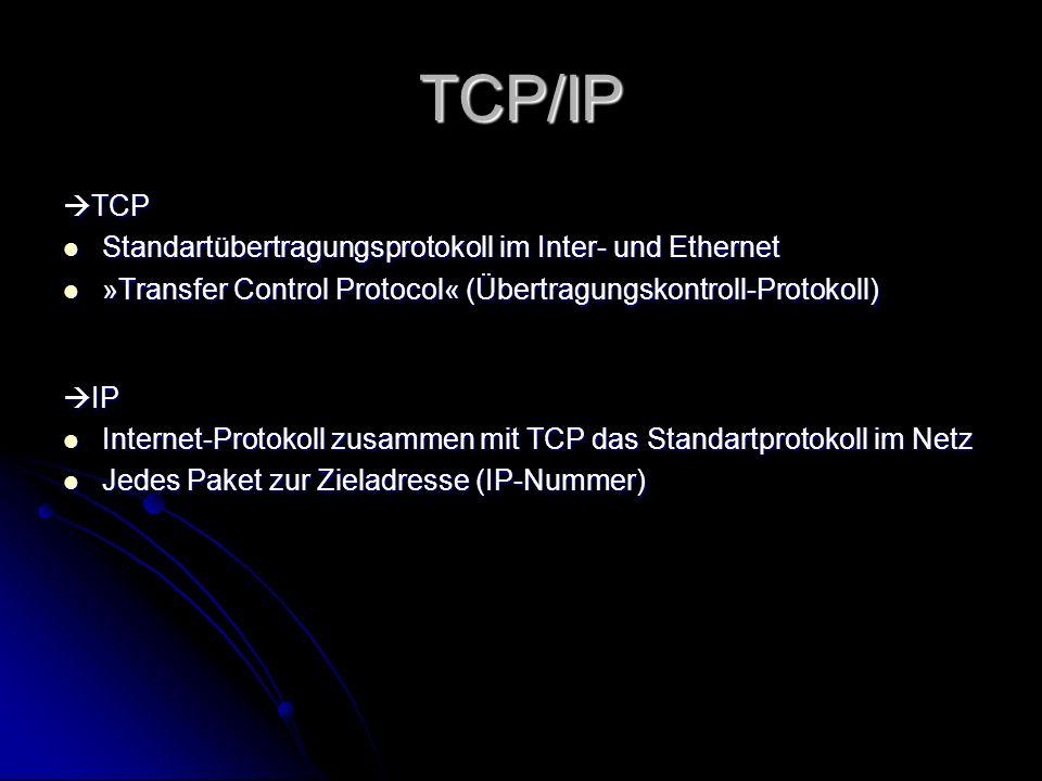TCP/IP TCP TCP Standartübertragungsprotokoll im Inter- und Ethernet Standartübertragungsprotokoll im Inter- und Ethernet »Transfer Control Protocol« (
