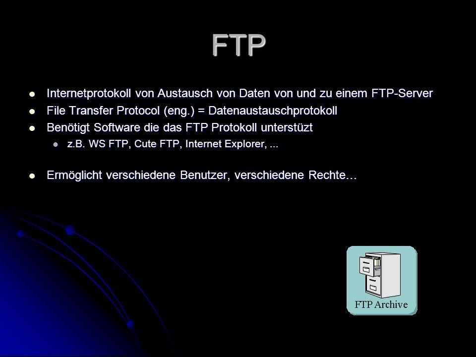 UDP User Datagramm Protocol User Datagramm Protocol Keine Rückmeldung ob Paket angekommen ist Schneller alsTCP Keine Rückmeldung ob Paket angekommen ist Schneller alsTCP Transportprotokoll ähnlich TCP Transportprotokoll ähnlich TCP