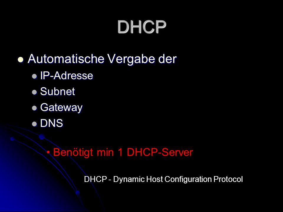 DHCP Automatische Vergabe der Automatische Vergabe der IP-Adresse IP-Adresse Subnet Subnet Gateway Gateway DNS DNS Benötigt min 1 DHCP-Server DHCP - D