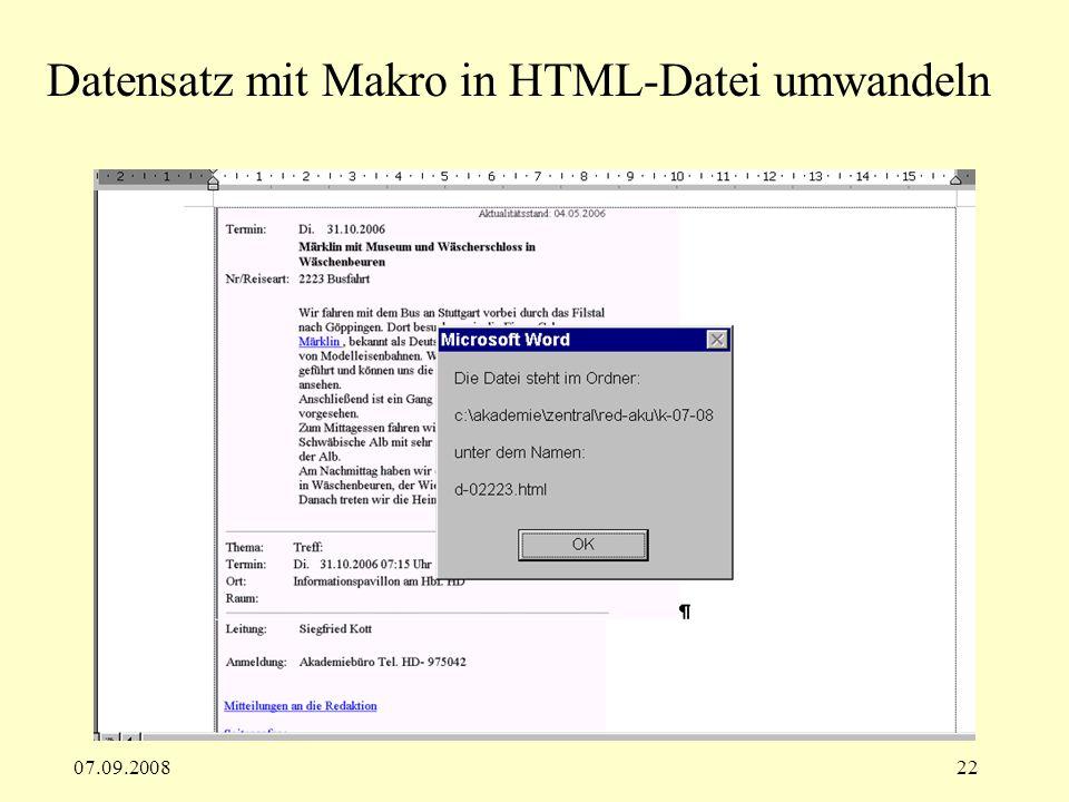 07.09.200822 Datensatz mit Makro in HTML-Datei umwandeln