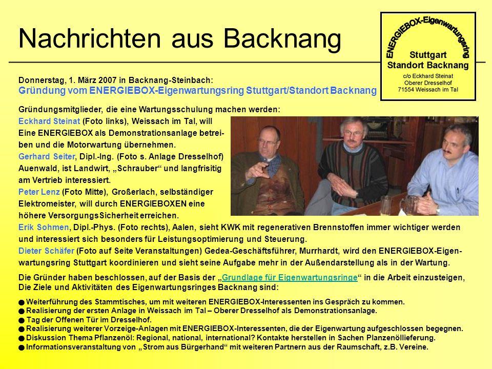 Nachrichten aus Backnang ____________________________________________________ Donnerstag, 1. März 2007 in Backnang-Steinbach: Gründung vom ENERGIEBOX-