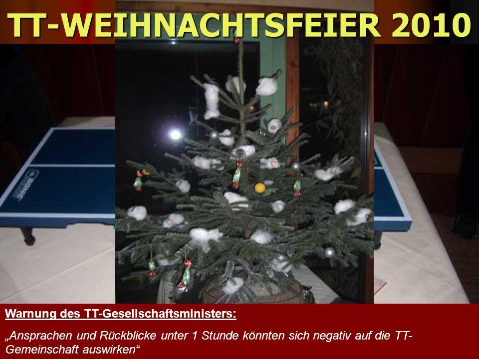 TT-WEIHNACHTSFEIER 2010 Warnung des TT-Gesellschaftsministers: Ansprachen und Rückblicke unter 1 Stunde könnten sich negativ auf die TT- Gemeinschaft