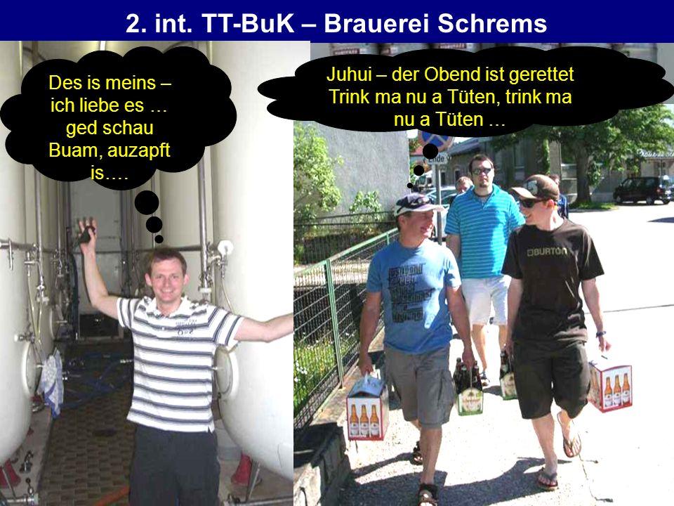 2. int. TT-BuK – Brauerei Schrems Des is meins – ich liebe es … ged schau Buam, auzapft is…. Juhui – der Obend ist gerettet Trink ma nu a Tüten, trink