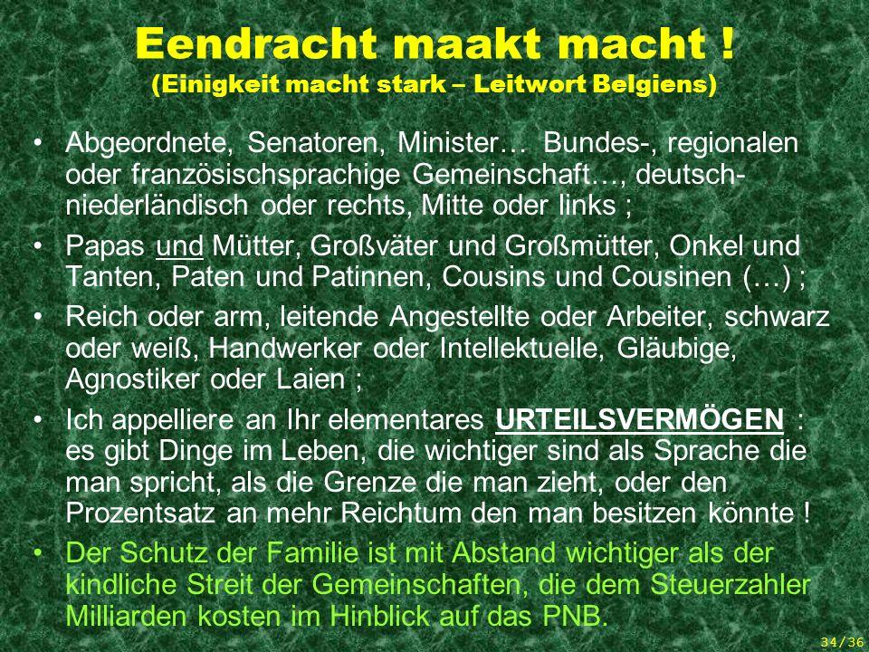 33/36 Möchte das Königreich Belgien ein Land der Entführten Elternschaft werden .