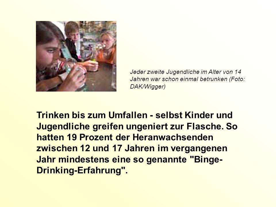 Jeder zweite Jugendliche im Alter von 14 Jahren war schon einmal betrunken (Foto: DAK/Wigger) Trinken bis zum Umfallen - selbst Kinder und Jugendliche