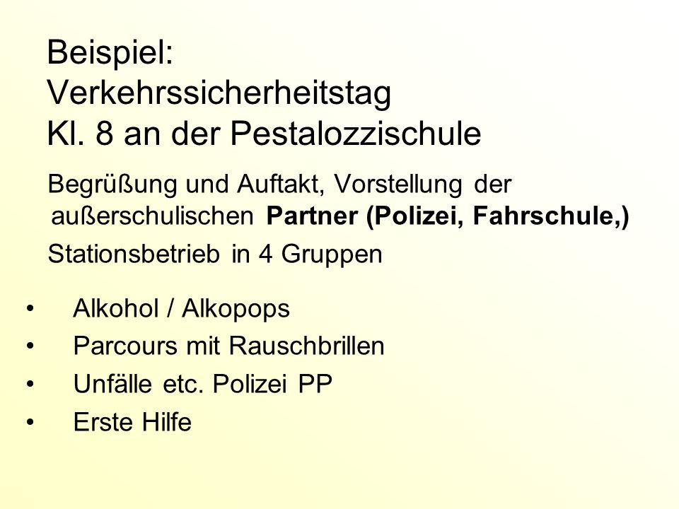 Beispiel: Verkehrssicherheitstag Kl. 8 an der Pestalozzischule Begrüßung und Auftakt, Vorstellung der außerschulischen Partner (Polizei, Fahrschule,)