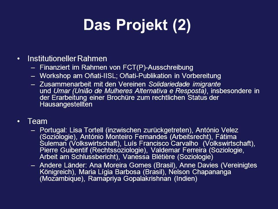 Das Projekt (2) Institutioneller Rahmen –Finanziert im Rahmen von FCT(P)-Ausschreibung –Workshop am Oñati-IISL; Oñati-Publikation in Vorbereitung –Zusammenarbeit mit den Vereinen Solidariedade imigrante und Umar (União de Mulheres Alternativa e Resposta), insbesondere in der Erarbeitung einer Brochüre zum rechtlichen Status der Hausangestellten Team –Portugal: Lisa Tortell (inzwischen zurückgetreten), António Velez (Soziologie), António Monteiro Fernandes (Arbeitsrecht), Fátima Suleman (Volkswirtschaft), Luís Francisco Carvalho (Volkswirtschaft), Pierre Guibentif (Rechtssoziologie), Valdemar Ferreira (Soziologie, Arbeit am Schlussbericht), Vanessa Blétière (Soziologie) –Andere Länder: Ana Moreira Gomes (Brasil), Anne Davies (Vereinigtes Königreich), Maria Lígia Barbosa (Brasil), Nelson Chapananga (Mozambique), Ramapriya Gopalakrishnan (Indien)