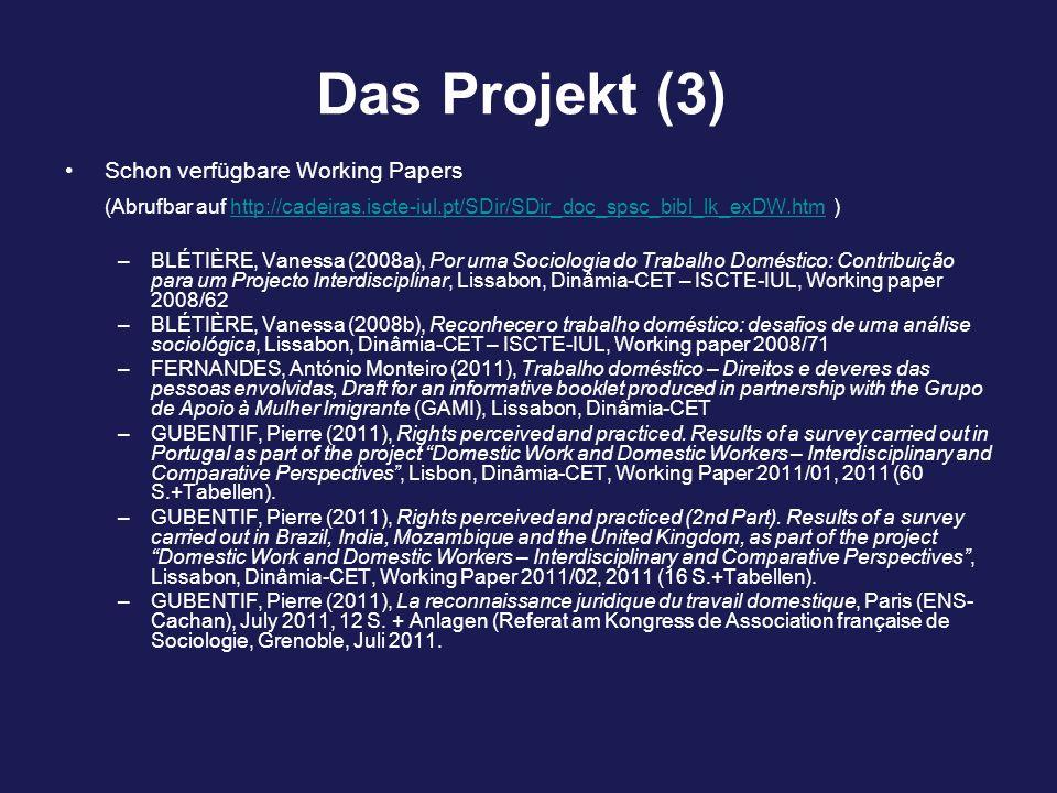 Das Projekt (3) Schon verfügbare Working Papers (Abrufbar auf http://cadeiras.iscte-iul.pt/SDir/SDir_doc_spsc_bibl_lk_exDW.htm )http://cadeiras.iscte-