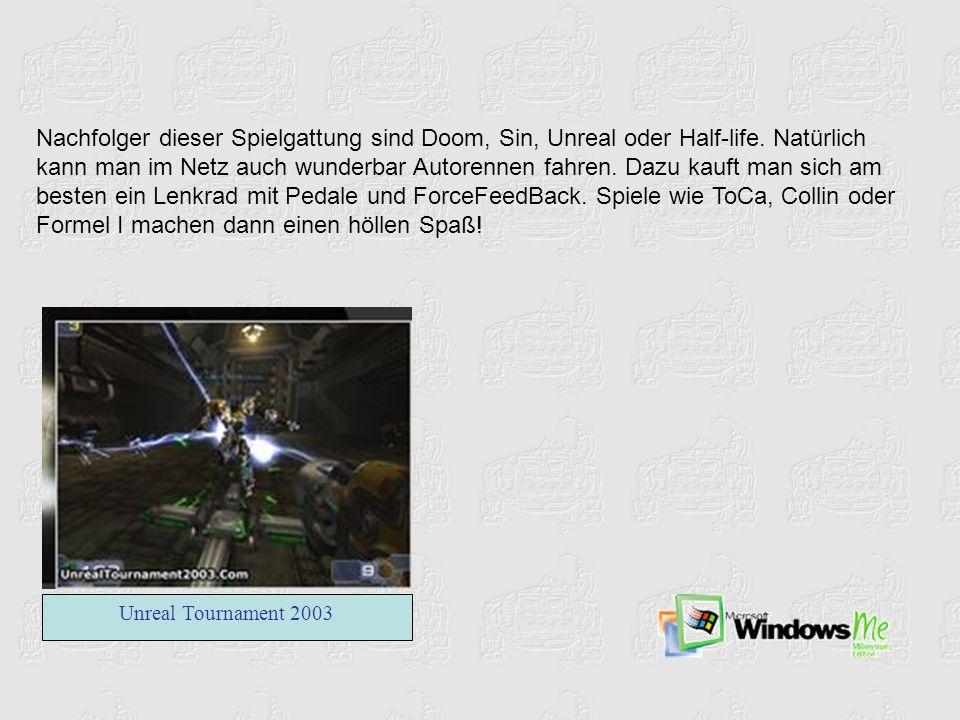 Nachfolger dieser Spielgattung sind Doom, Sin, Unreal oder Half-life. Natürlich kann man im Netz auch wunderbar Autorennen fahren. Dazu kauft man sich