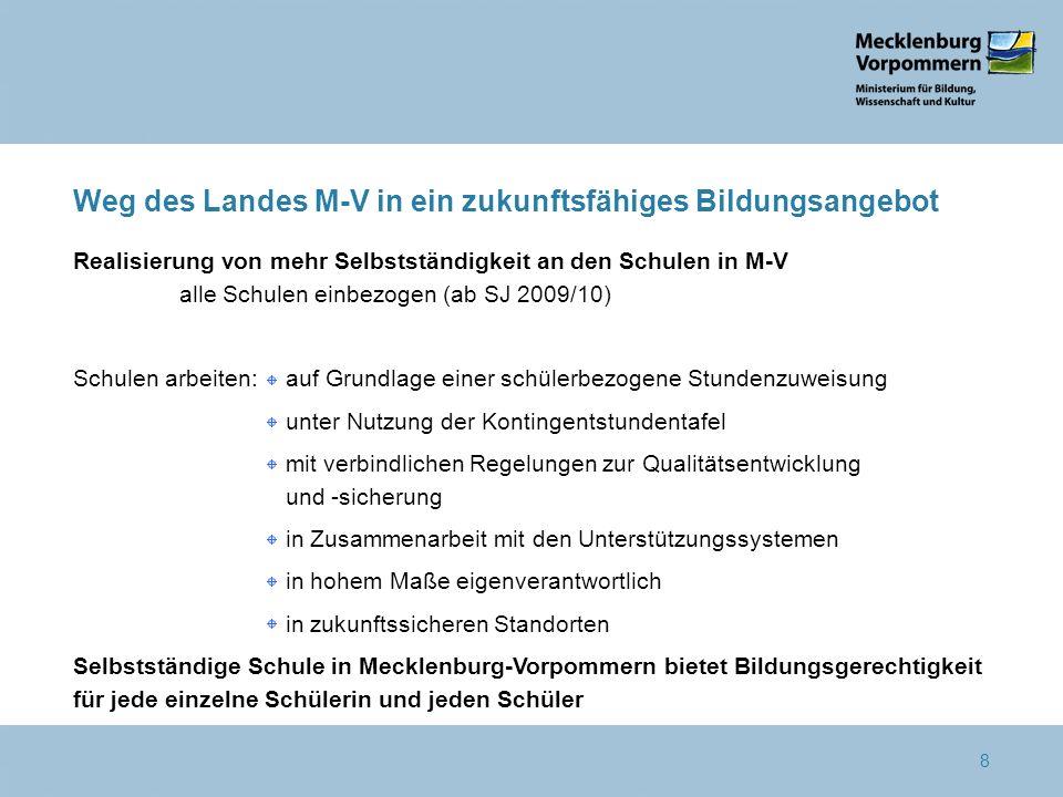 8 Weg des Landes M-V in ein zukunftsfähiges Bildungsangebot Realisierung von mehr Selbstständigkeit an den Schulen in M-V alle Schulen einbezogen (ab