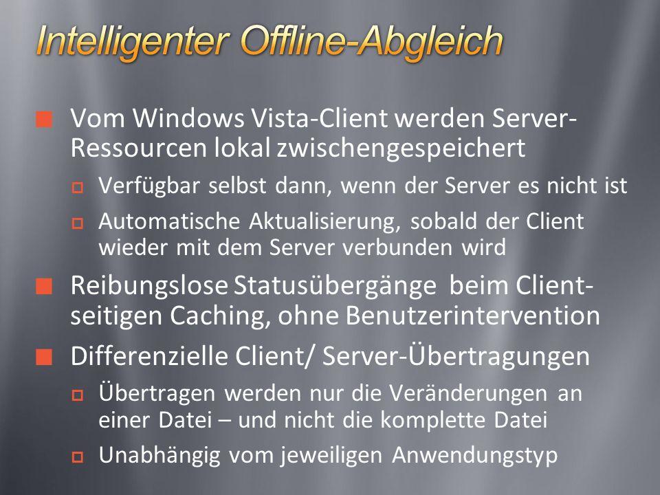 Vom Windows Vista-Client werden Server- Ressourcen lokal zwischengespeichert Verfügbar selbst dann, wenn der Server es nicht ist Automatische Aktualisierung, sobald der Client wieder mit dem Server verbunden wird Reibungslose Statusübergänge beim Client- seitigen Caching, ohne Benutzerintervention Differenzielle Client/ Server-Übertragungen Übertragen werden nur die Veränderungen an einer Datei – und nicht die komplette Datei Unabhängig vom jeweiligen Anwendungstyp