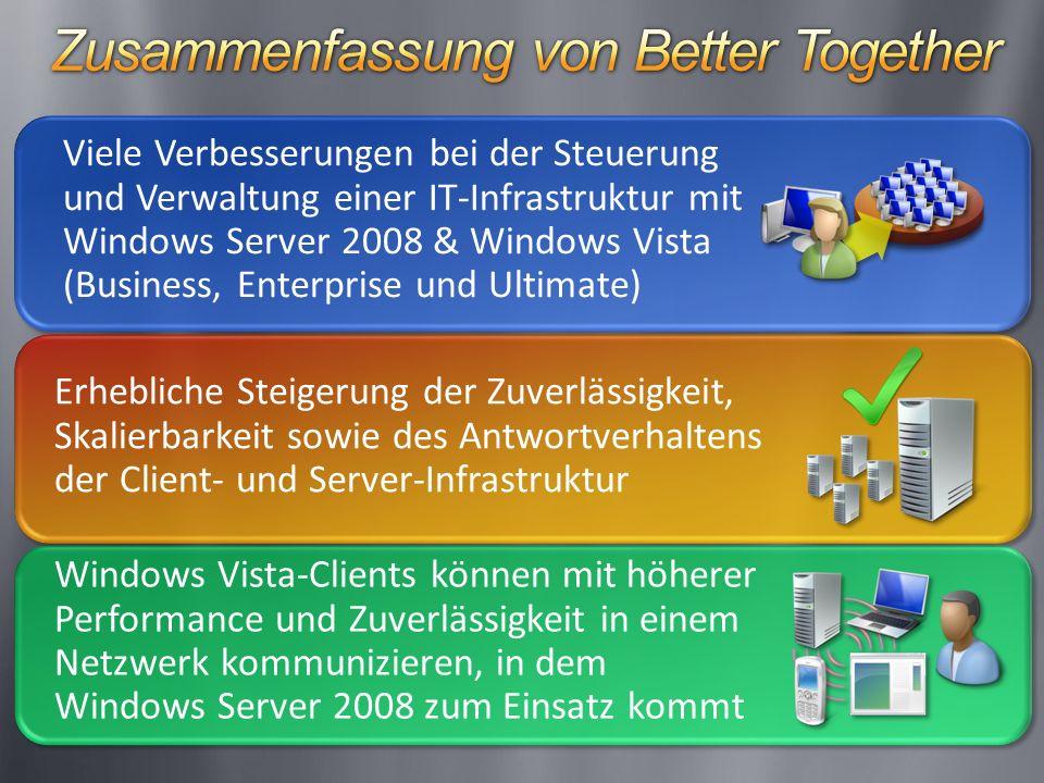 Windows Vista-Clients können mit höherer Performance und Zuverlässigkeit in einem Netzwerk kommunizieren, in dem Windows Server 2008 zum Einsatz kommt Viele Verbesserungen bei der Steuerung und Verwaltung einer IT-Infrastruktur mit Windows Server 2008 & Windows Vista (Business, Enterprise und Ultimate) Erhebliche Steigerung der Zuverlässigkeit, Skalierbarkeit sowie des Antwortverhaltens der Client- und Server-Infrastruktur