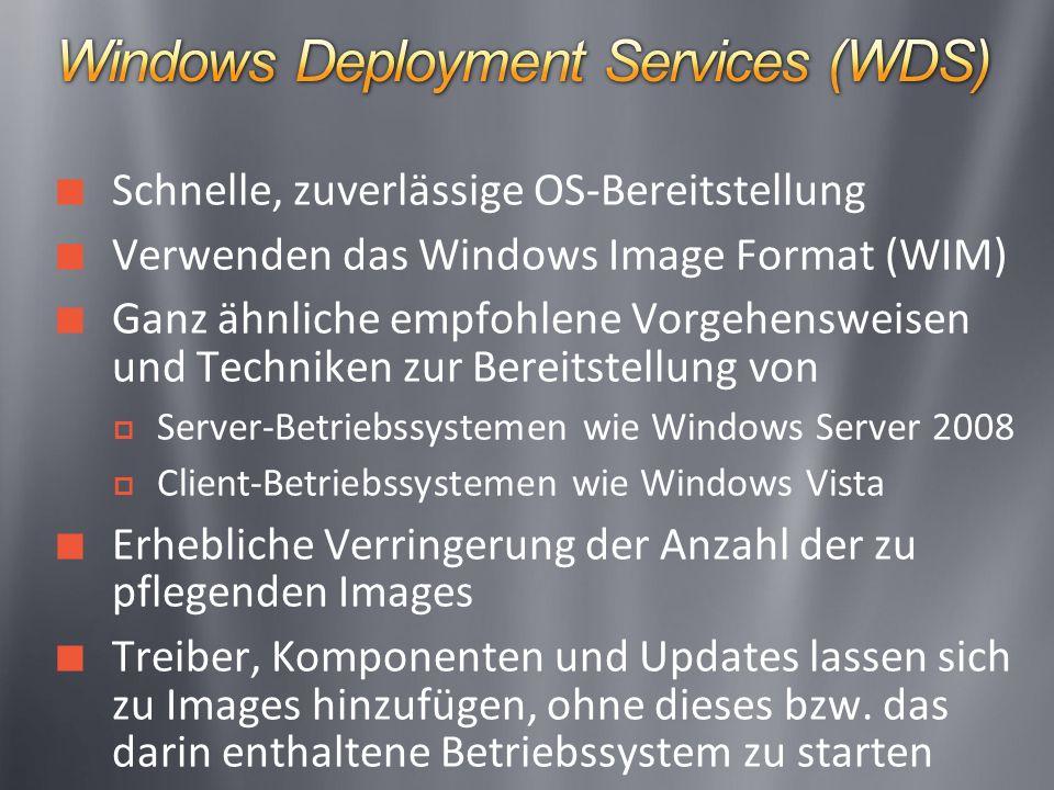 Schnelle, zuverlässige OS-Bereitstellung Verwenden das Windows Image Format (WIM) Ganz ähnliche empfohlene Vorgehensweisen und Techniken zur Bereitstellung von Server-Betriebssystemen wie Windows Server 2008 Client-Betriebssystemen wie Windows Vista Erhebliche Verringerung der Anzahl der zu pflegenden Images Treiber, Komponenten und Updates lassen sich zu Images hinzufügen, ohne dieses bzw.