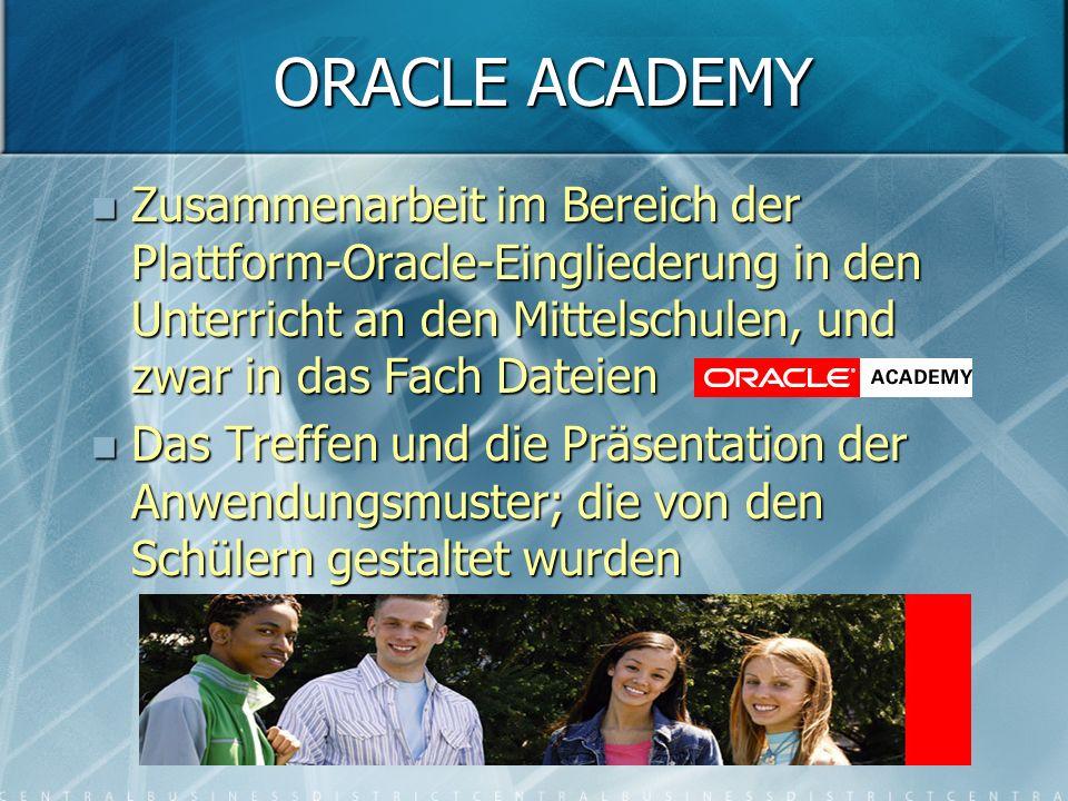 ORACLE ACADEMY Zusammenarbeit im Bereich der Plattform-Oracle-Eingliederung in den Unterricht an den Mittelschulen, und zwar in das Fach Dateien Zusammenarbeit im Bereich der Plattform-Oracle-Eingliederung in den Unterricht an den Mittelschulen, und zwar in das Fach Dateien Das Treffen und die Präsentation der Anwendungsmuster; die von den Schülern gestaltet wurden Das Treffen und die Präsentation der Anwendungsmuster; die von den Schülern gestaltet wurden