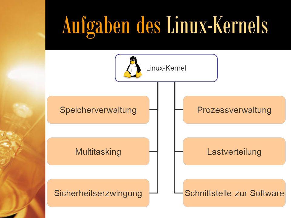 Aufgaben des Linux-Kernels Linux-Kernel Speicherverwaltung MultitaskingLastverteilung Prozessverwaltung SicherheitserzwingungSchnittstelle zur Software