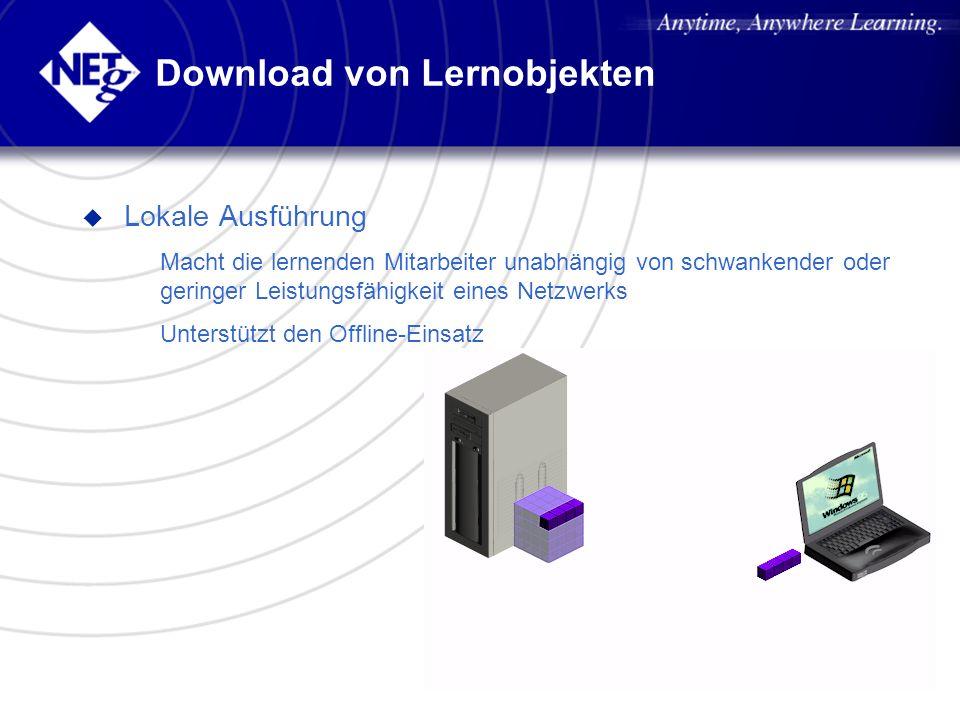 Download von Lernobjekten u Lokale Ausführung – Macht die lernenden Mitarbeiter unabhängig von schwankender oder geringer Leistungsfähigkeit eines Net
