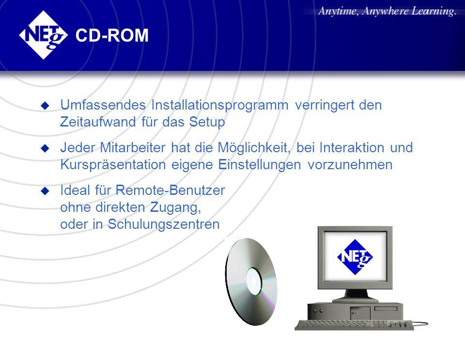 CD-ROM u Umfassendes Installationsprogramm verringert den Zeitaufwand für das Setup u Jeder Mitarbeiter hat die Möglichkeit, bei Interaktion und Kursp