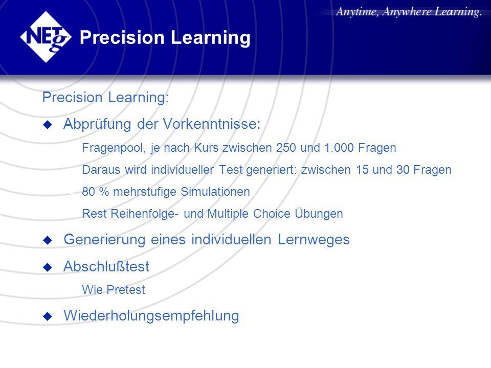 Precision Learning Precision Learning: u Abprüfung der Vorkenntnisse: – Fragenpool, je nach Kurs zwischen 250 und 1.000 Fragen – Daraus wird individue