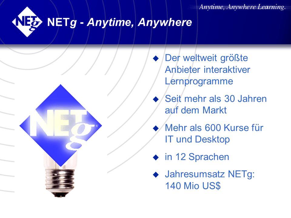 NETg - Anytime, Anywhere u Der weltweit größte Anbieter interaktiver Lernprogramme u Seit mehr als 30 Jahren auf dem Markt u Mehr als 600 Kurse für IT