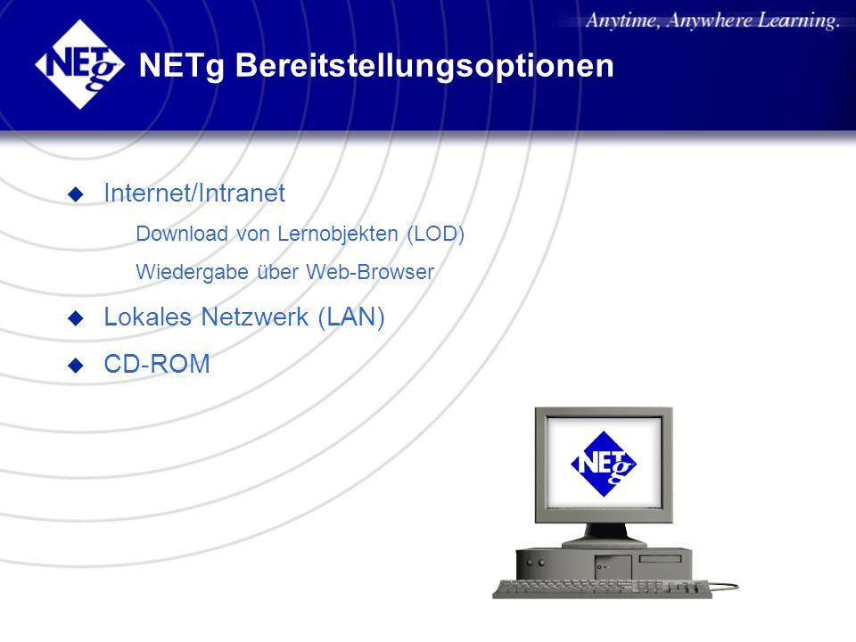 NETg Bereitstellungsoptionen u Internet/Intranet – Download von Lernobjekten (LOD) – Wiedergabe über Web-Browser u Lokales Netzwerk (LAN) u CD-ROM