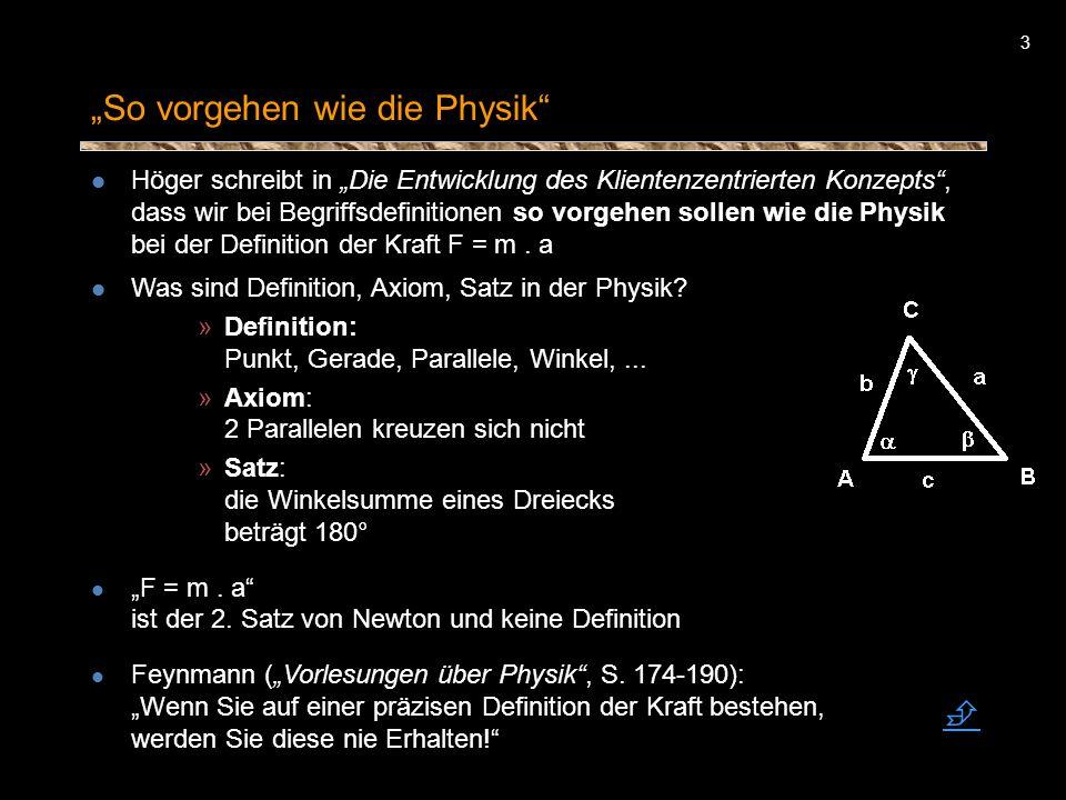 3 So vorgehen wie die Physik Höger schreibt in Die Entwicklung des Klientenzentrierten Konzepts, dass wir bei Begriffsdefinitionen so vorgehen sollen