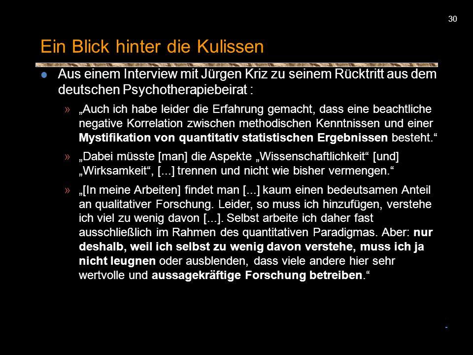 30 Ein Blick hinter die Kulissen Aus einem Interview mit Jürgen Kriz zu seinem Rücktritt aus dem deutschen Psychotherapiebeirat : » Auch ich habe leid