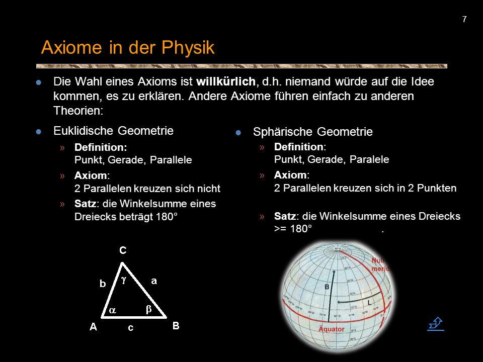 7 Axiome in der Physik Die Wahl eines Axioms ist willkürlich, d.h. niemand würde auf die Idee kommen, es zu erklären. Andere Axiome führen einfach zu