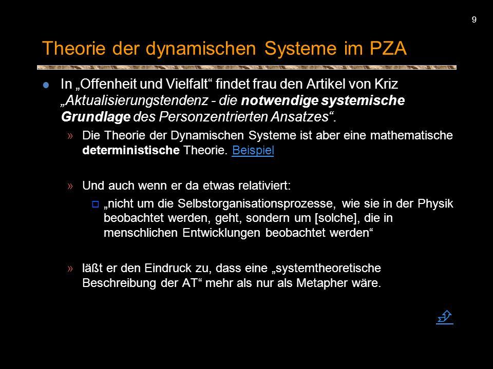 9 Theorie der dynamischen Systeme im PZA In Offenheit und Vielfalt findet frau den Artikel von Kriz Aktualisierungstendenz - die notwendige systemisch