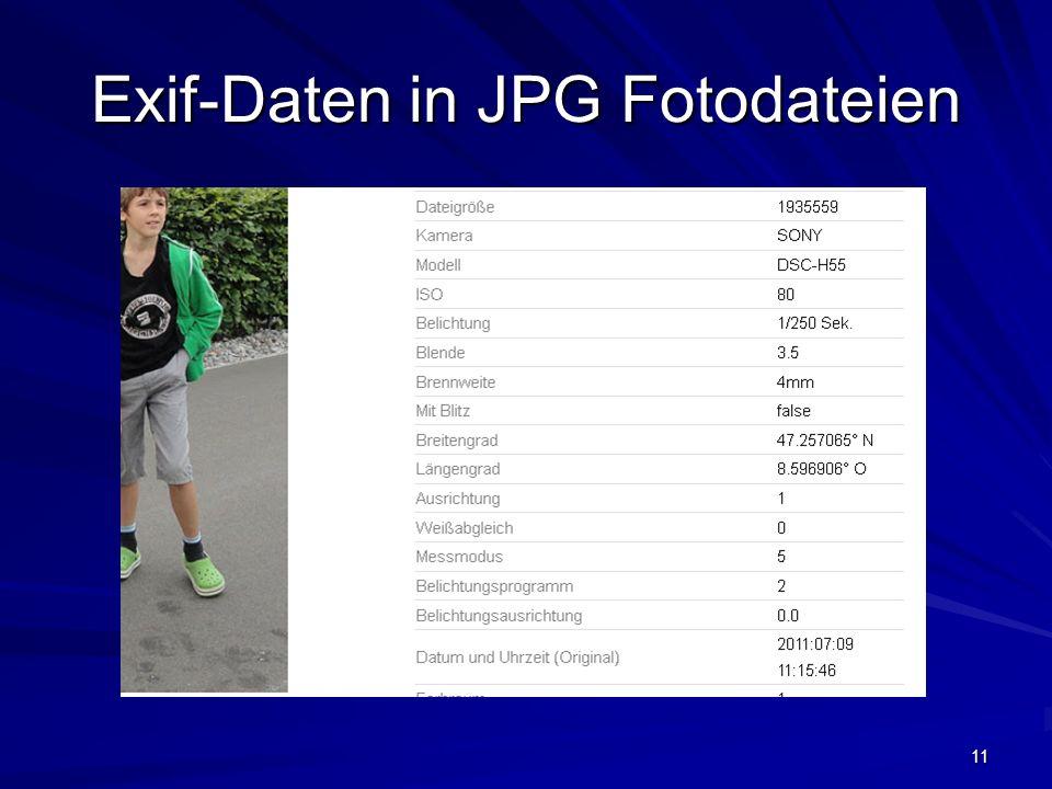 11 Exif-Daten in JPG Fotodateien
