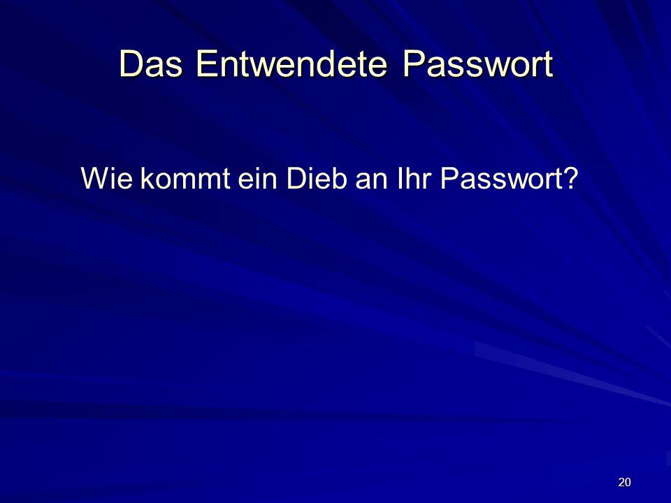 20 Das Entwendete Passwort Wie kommt ein Dieb an Ihr Passwort?
