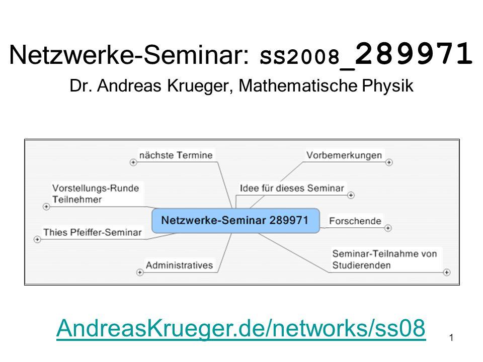 1 Netzwerke-Seminar: SS2008_ 289971 Dr. Andreas Krueger, Mathematische Physik AndreasKrueger.de/networks/ss08