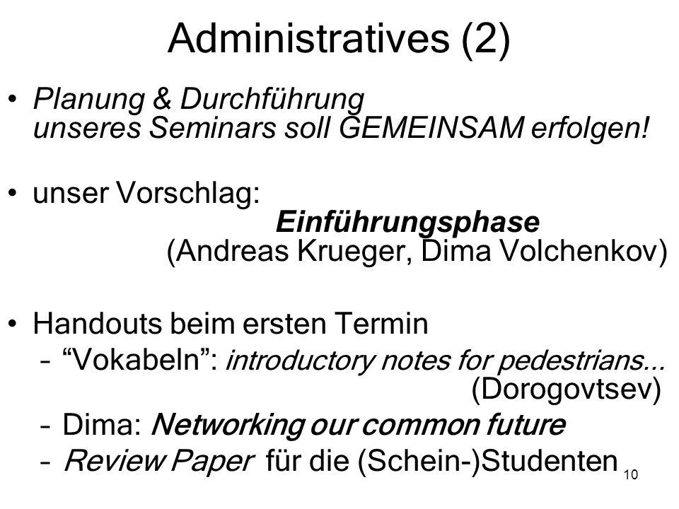 10 Administratives (2) Planung & Durchführung unseres Seminars soll GEMEINSAM erfolgen! unser Vorschlag: Einführungsphase (Andreas Krueger, Dima Volch