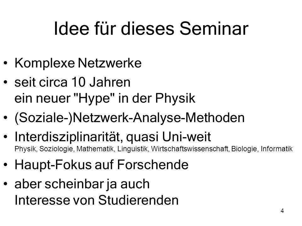 4 Idee für dieses Seminar Komplexe Netzwerke seit circa 10 Jahren ein neuer