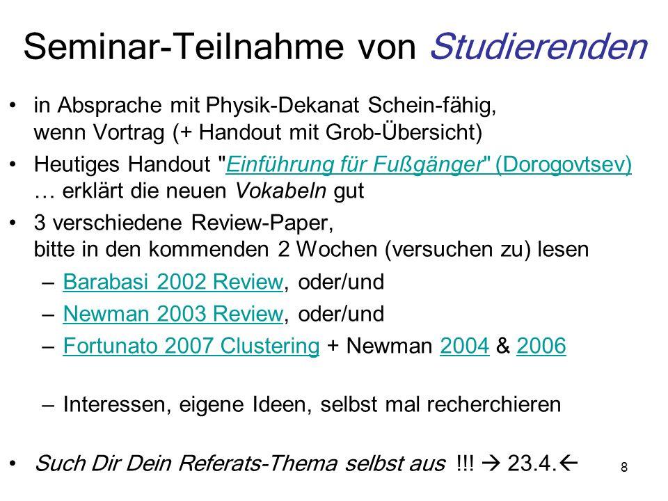 8 Seminar-Teilnahme von Studierenden in Absprache mit Physik-Dekanat Schein-fähig, wenn Vortrag (+ Handout mit Grob-Übersicht) Heutiges Handout