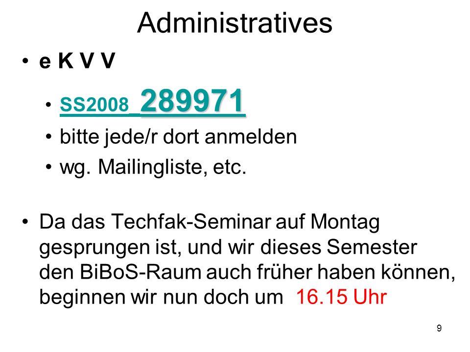 9 Administratives e K V V 289971 289971SS2008_ 289971SS2008_ 289971 bitte jede/r dort anmelden wg. Mailingliste, etc. Da das Techfak-Seminar auf Monta