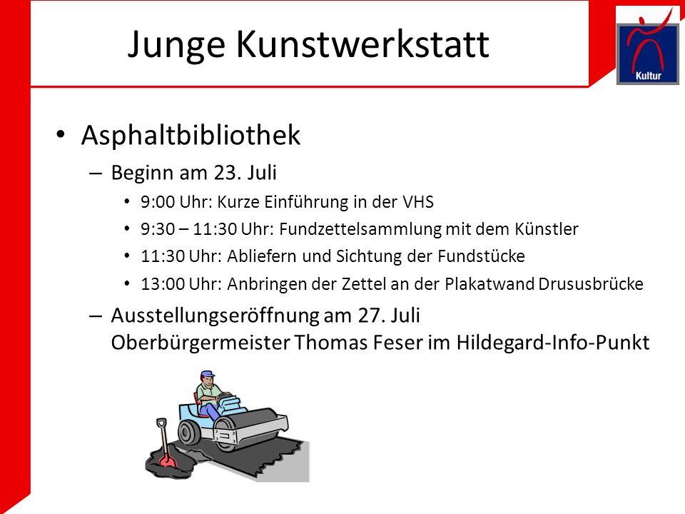 Junge Kunstwerkstatt Asphaltbibliothek – Beginn am 23.
