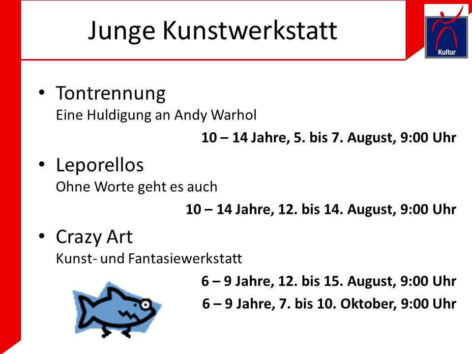 Junge Kunstwerkstatt Tontrennung Eine Huldigung an Andy Warhol 10 – 14 Jahre, 5.