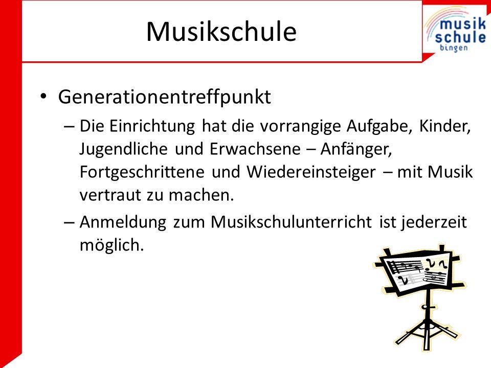 Musikschule Generationentreffpunkt – Die Einrichtung hat die vorrangige Aufgabe, Kinder, Jugendliche und Erwachsene – Anfänger, Fortgeschrittene und Wiedereinsteiger – mit Musik vertraut zu machen.