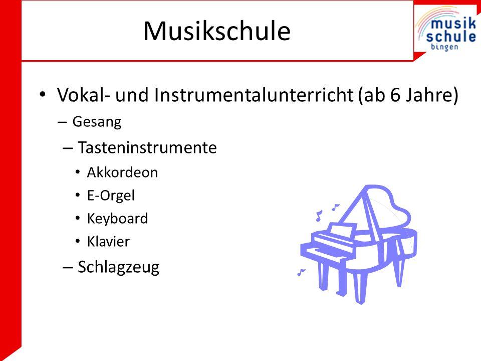 Musikschule Vokal- und Instrumentalunterricht (ab 6 Jahre) – Gesang – Tasteninstrumente Akkordeon E-Orgel Keyboard Klavier – Schlagzeug
