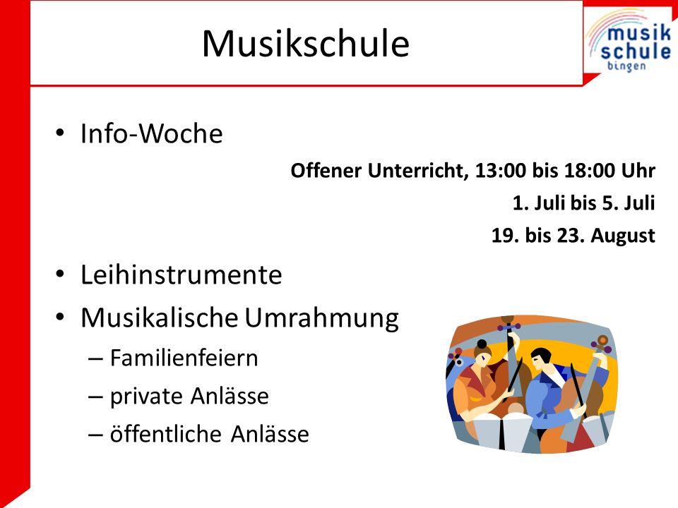 Musikschule Info-Woche Offener Unterricht, 13:00 bis 18:00 Uhr 1.