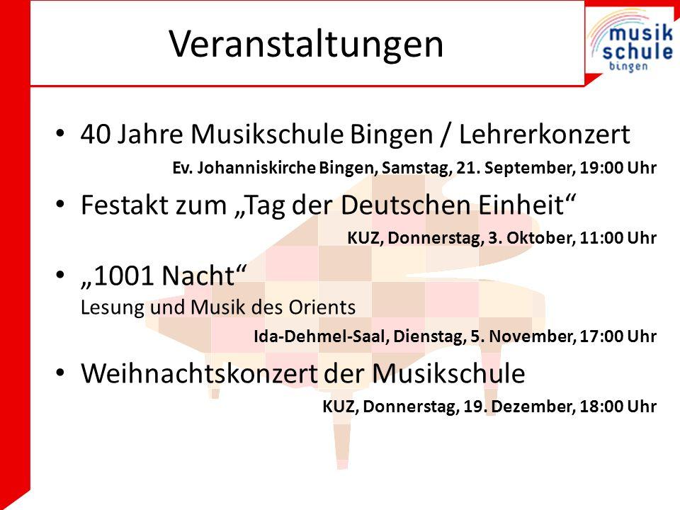 Veranstaltungen 40 Jahre Musikschule Bingen / Lehrerkonzert Ev.